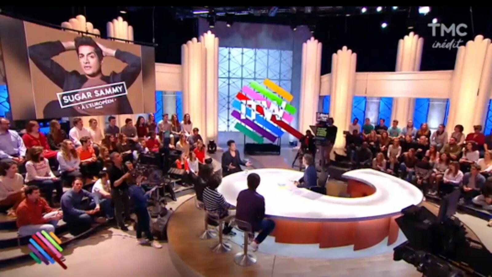 Sugar Sammy sur le plateau de « Quotidien », interrogé par Yann Barthès.