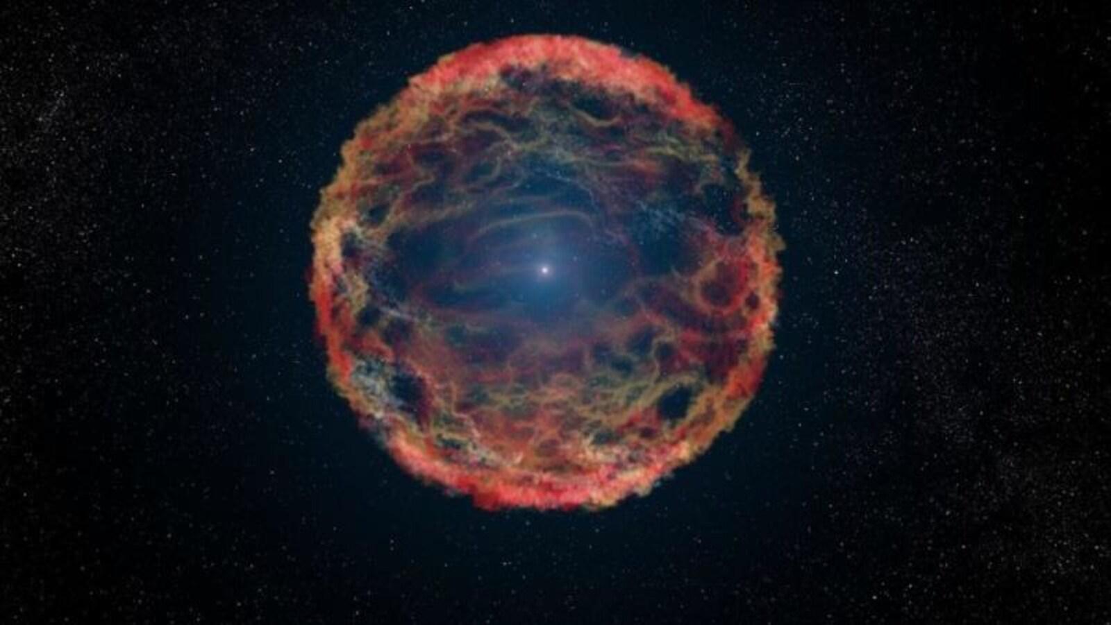 Représentation artistique d'une supernova comme iPTF14hls
