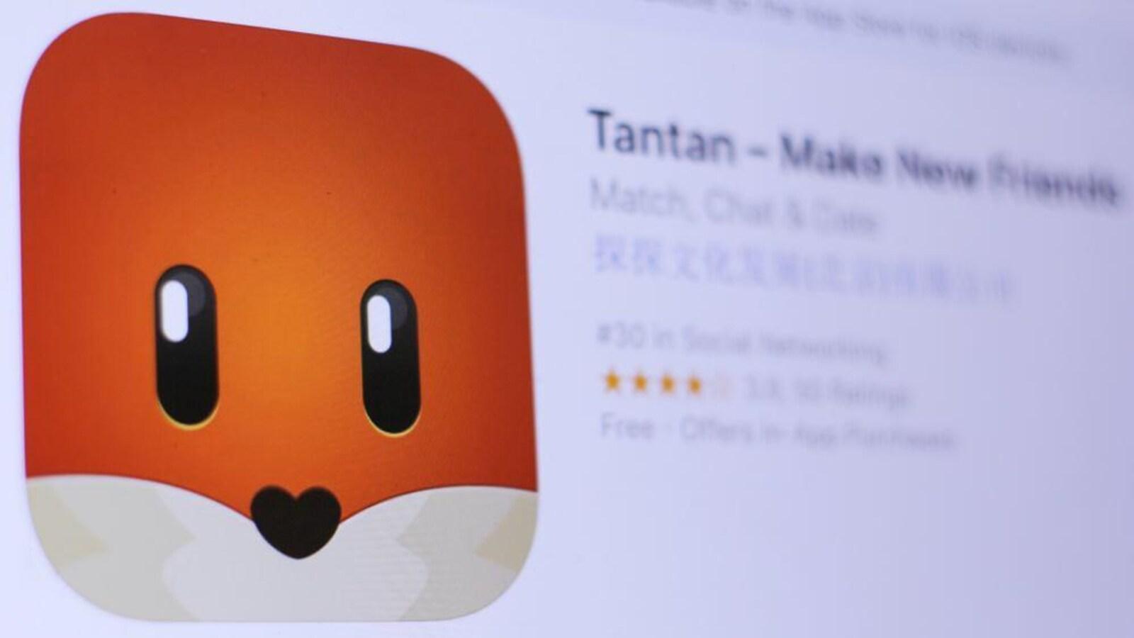 Le logo de Tantan qui représente un chat avec un museau en coeur.