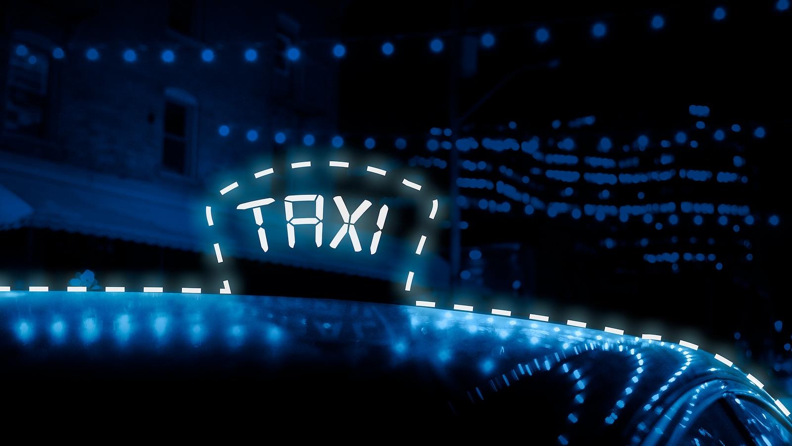 Montage photo montrant le toit d'une voiture avec une illustration pointillée d'un logo de taxi.