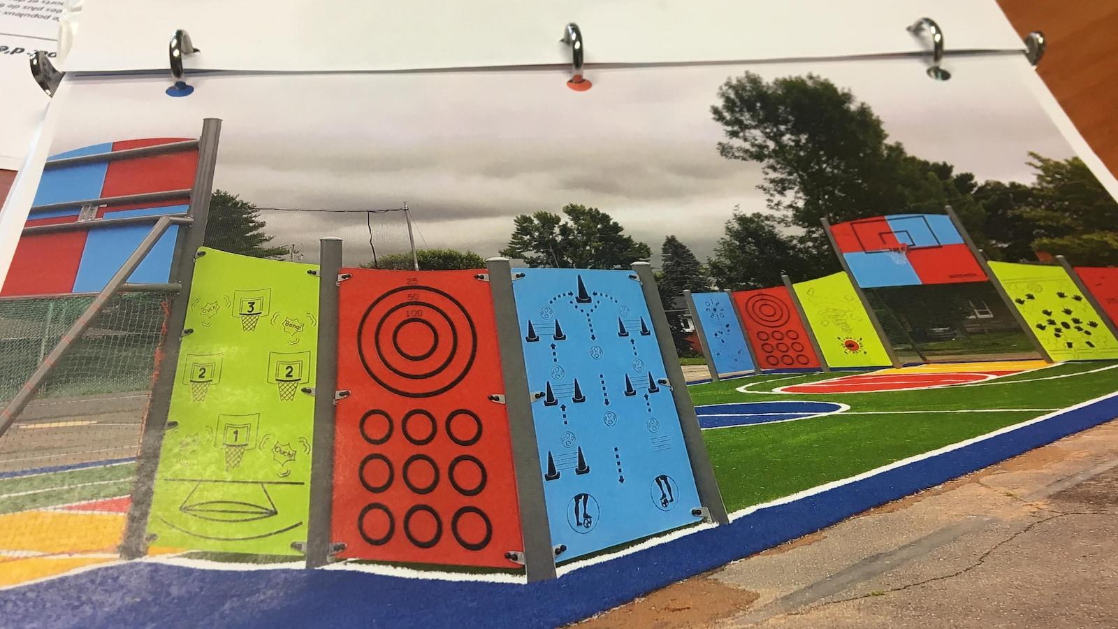 Un aperçu de ce à quoi ressemblera le terrain synthétique de l'école La Maisonnée de Sherbrooke.