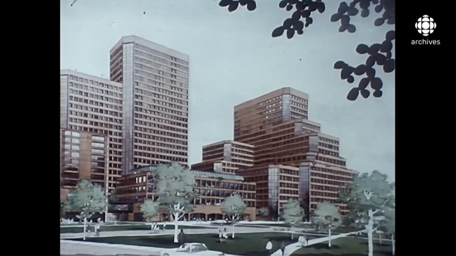 Dessin représentant les édifices des Terrasses de la Chaudière entourés d'arbres feuillus.