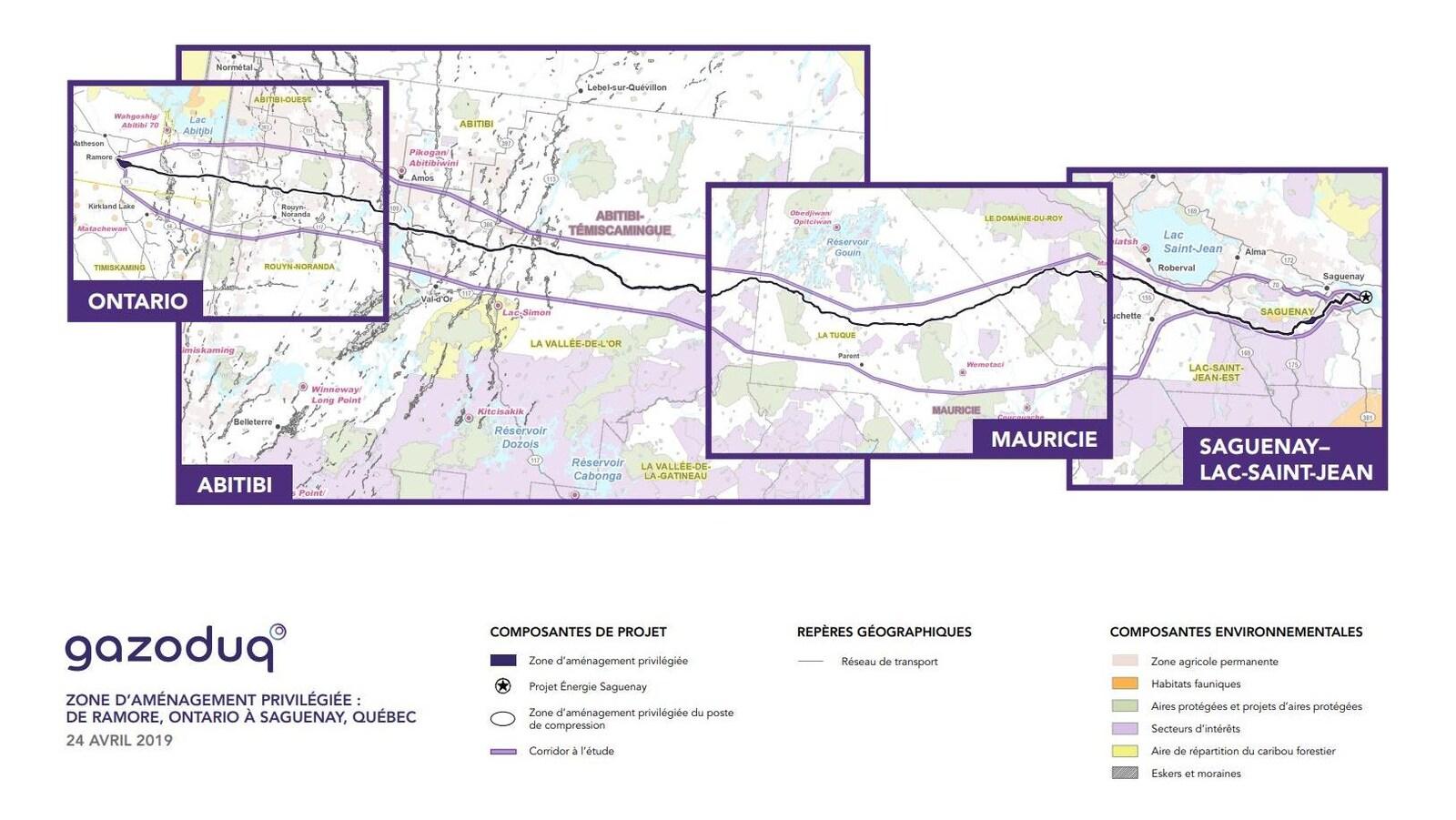 Une carte montre de tracé d'un projet de gazoduc.