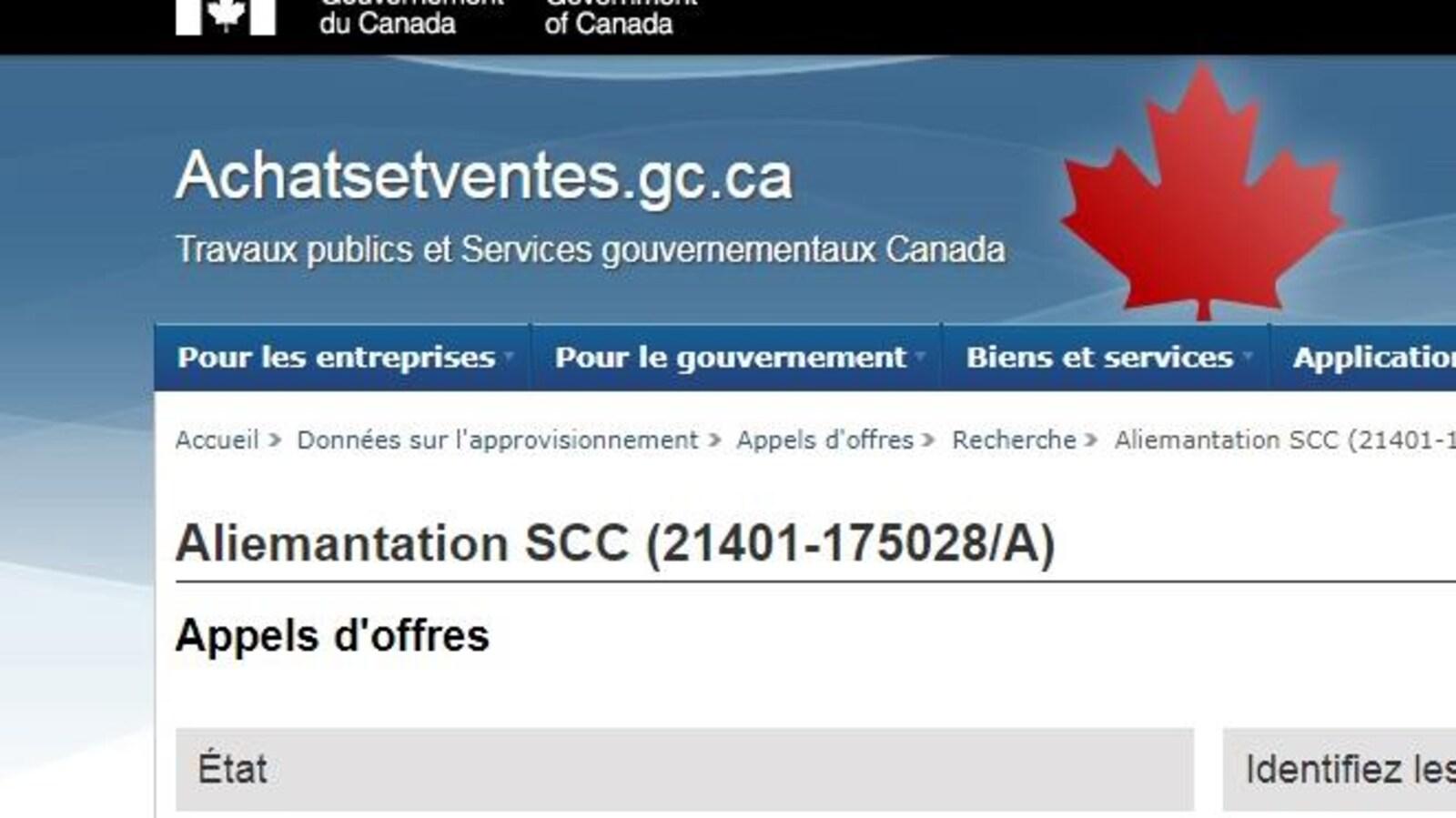 «Aliemantation» peut-on lire dans un appel d'offre en français disponible le site web du gouvernement.