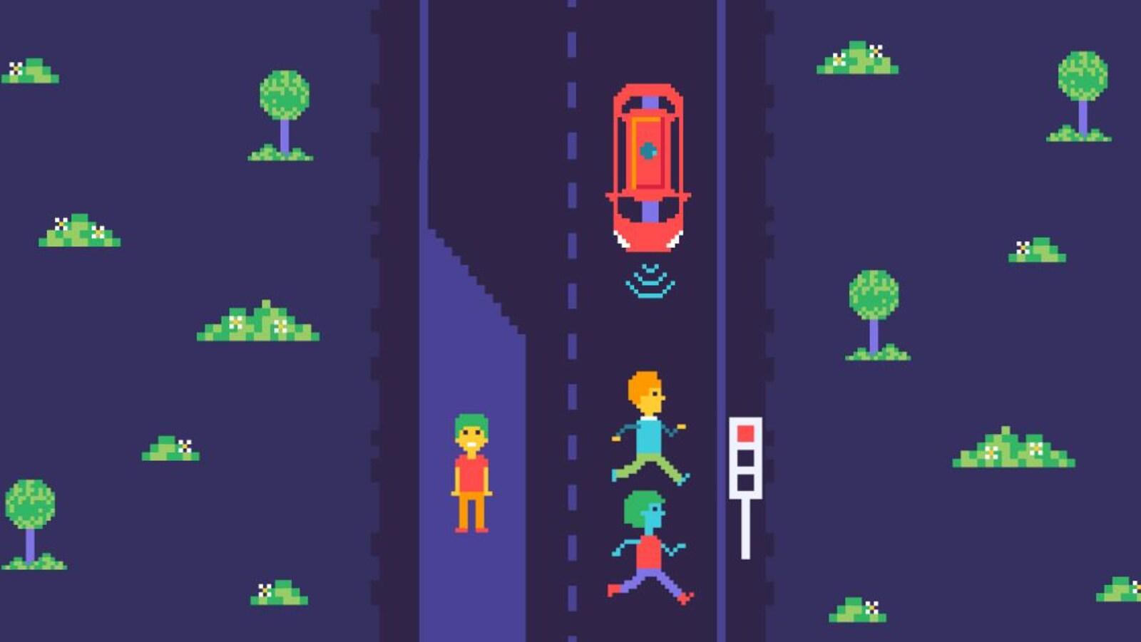Illustration montrant trois piétons et une voiture autonome