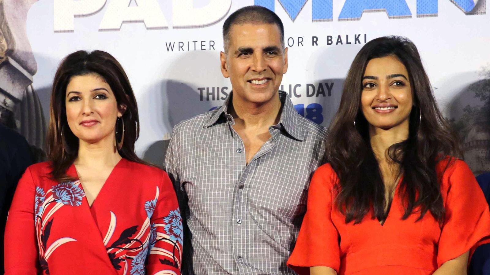 Les vedettes de Bollywood Twinkle Khanna, son mari Akshay Kumar et Radhika Apte