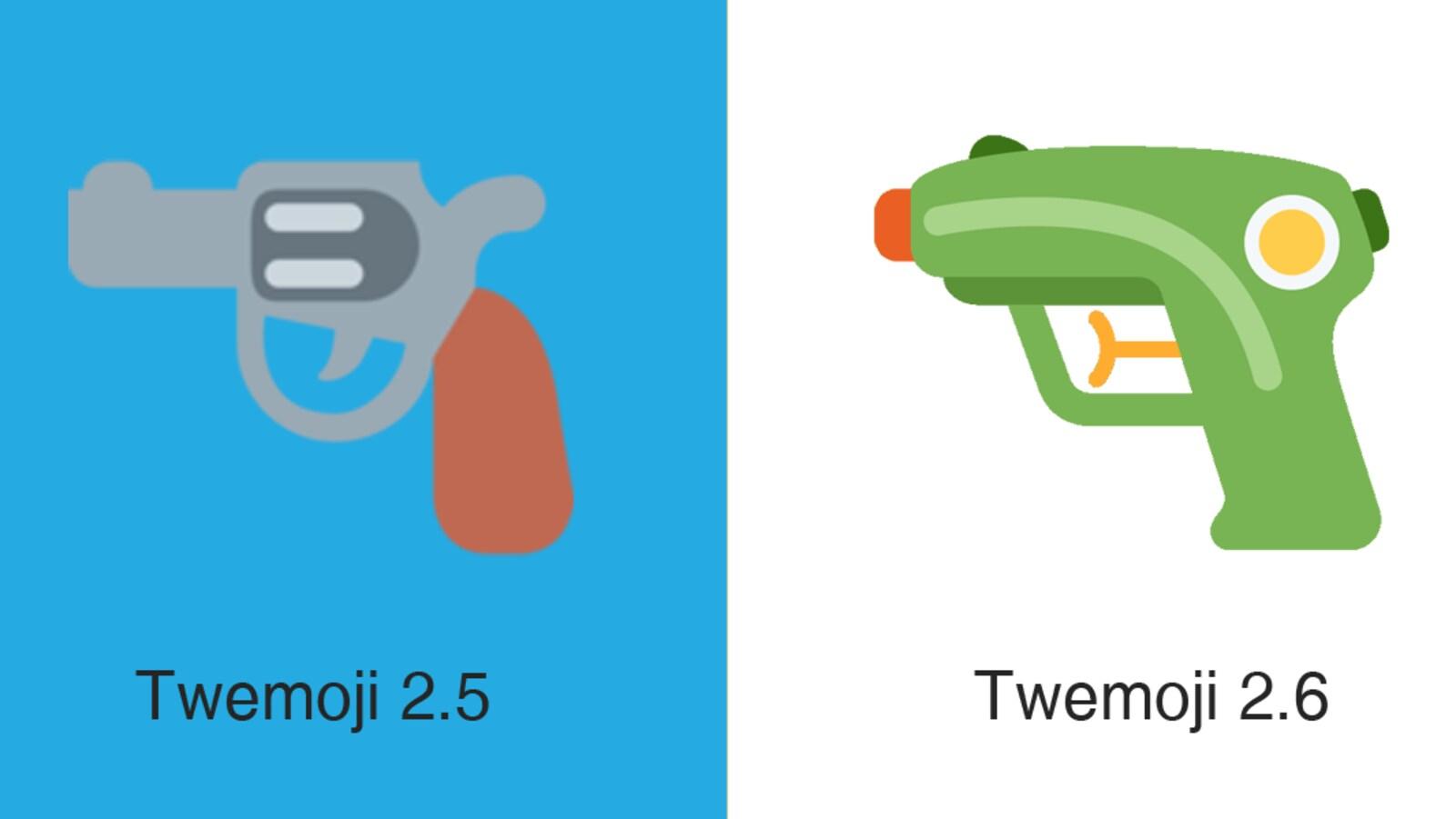 À gauche, un émoji de pistolet et, à droite, un émoji de pistolet à eau.