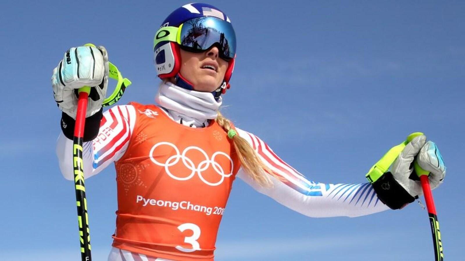 L'Américaine Lindsey Vonn en haut de la piste à Pyeongchang