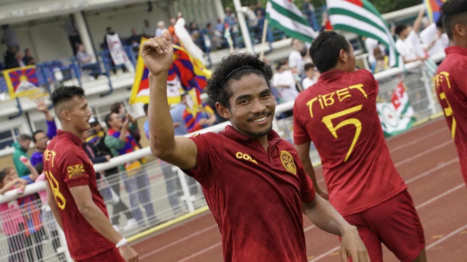 Des membres de l'équipe du Tibet à la Coupe du monde des peuples sans État