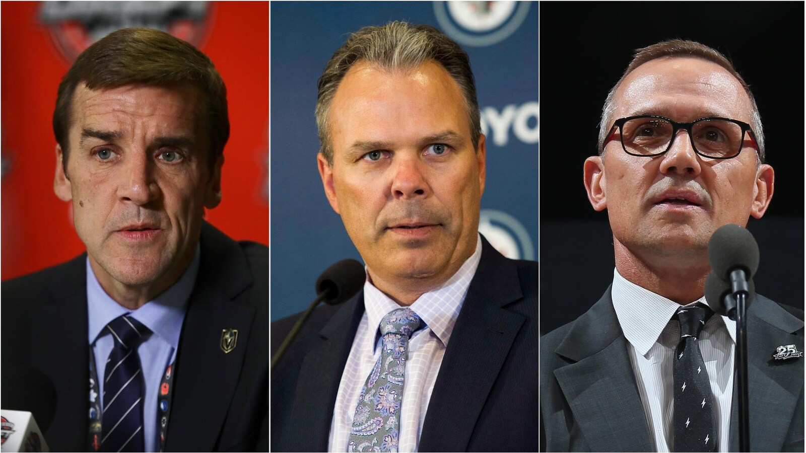 George McPhee (Vegas), Kevin Cheveldayoff (Winnipeg) et Steve Yzerman (Tampa Bay)