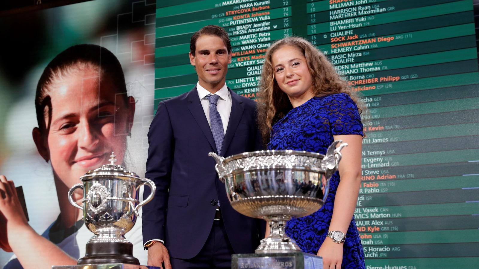 Les champions en titre de Roland-Garros posent derrière les trophées masculin et féminin.