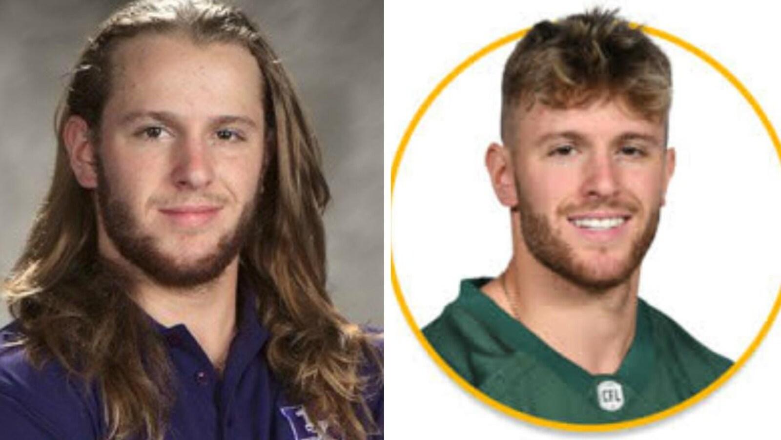 Photos officielles de Jordan Beaulieu avec les Mustangs de Western (à gauche) et avec les Eskimos (à droite).