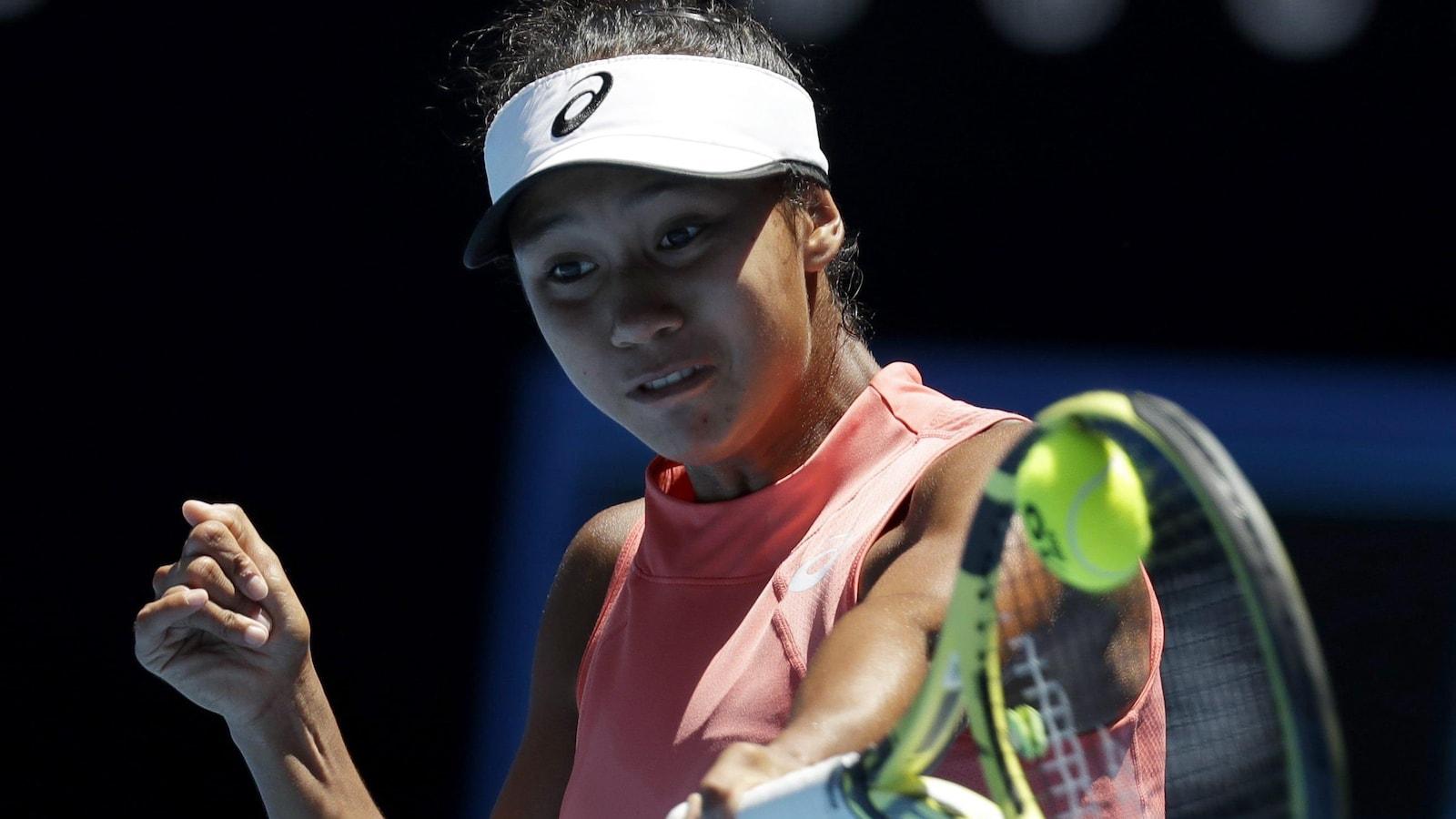 Leylah Annie Fernandez, lors de la finale des Internationaux juniors d'Australie, en janvier 2019