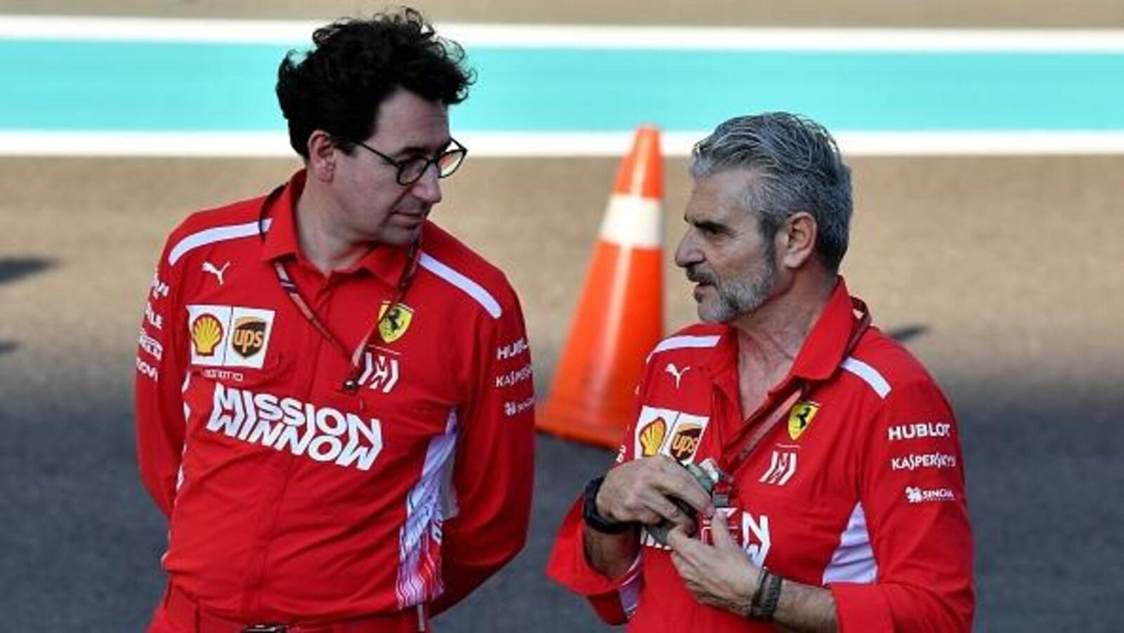 Mattia Binotto (à gauche) a été choisi pour succéder à Maurizio Arrivabene (à droite) comme patron de la Scuderia.