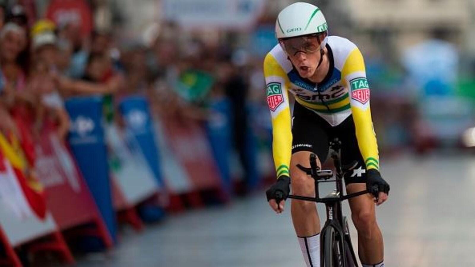 Rohan Dennis à l'arrivée du contre-la-montre au Tour d'Espagne