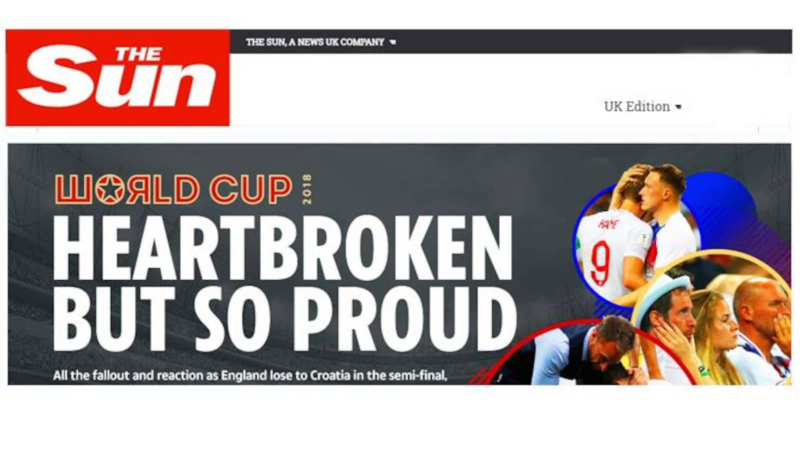 La une du journal britannique The Sun : le coeur brisé, mais si fiers