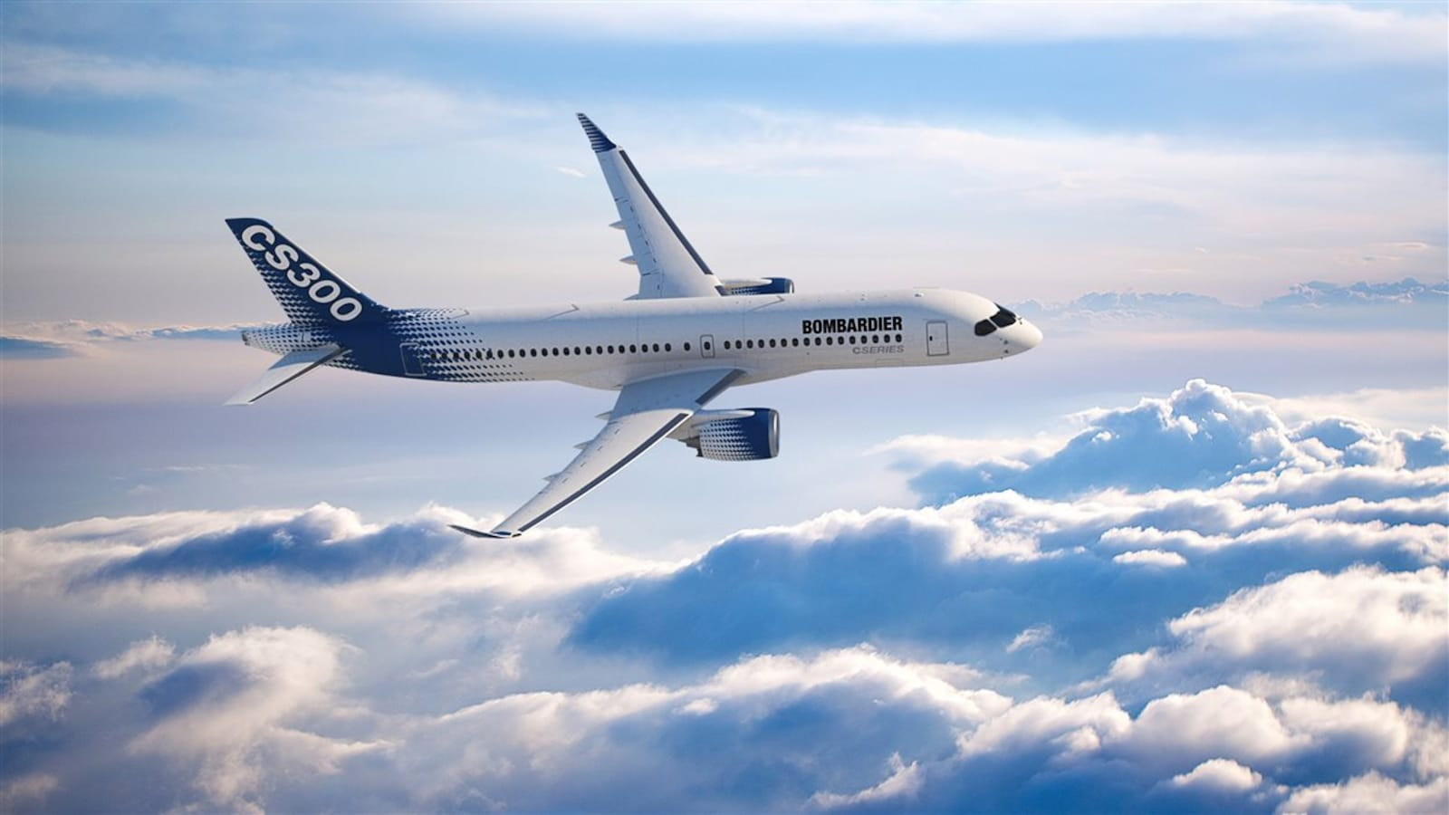 Un avion CS300 vole au-dessus des nuages.