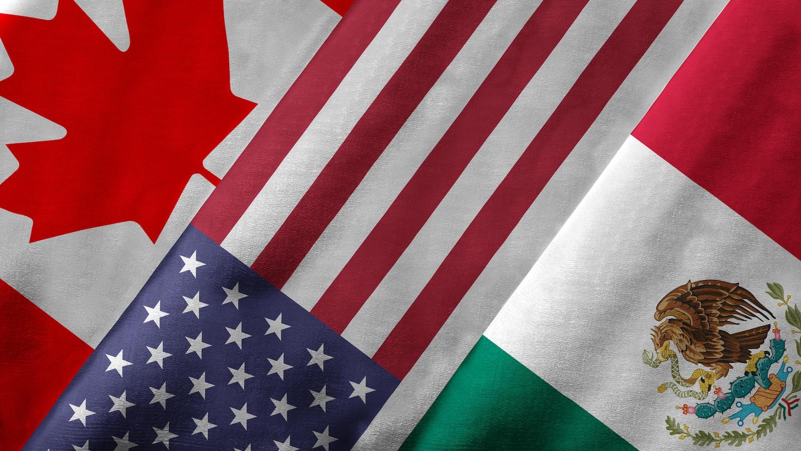 Drapeaux du Canada, des États-Unis et du Mexique.