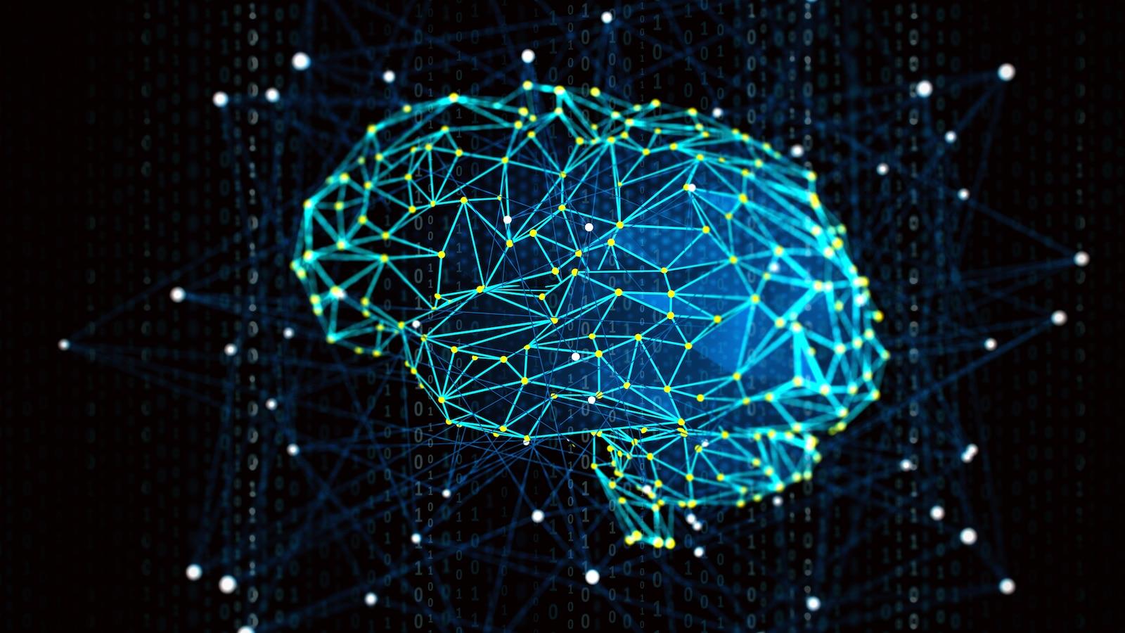 Un cerveau dessiné grâce à un ensemble de points et de lignes colorés formant un réseau lumineux sur un fond noir.