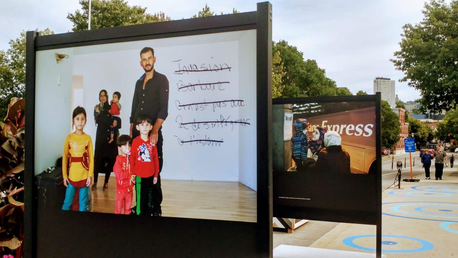 Une photo montrant une famille d'immigrants à Québec vandalisées avec l'écriture : « Invasion barbare, ce n'est pas au Québec de s'intégrer à l'islam. »