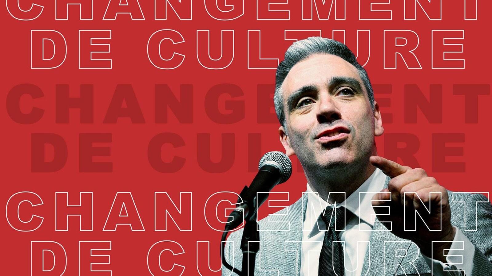 Joël Bouchard sur fond rouge avec libellé Changement de culture