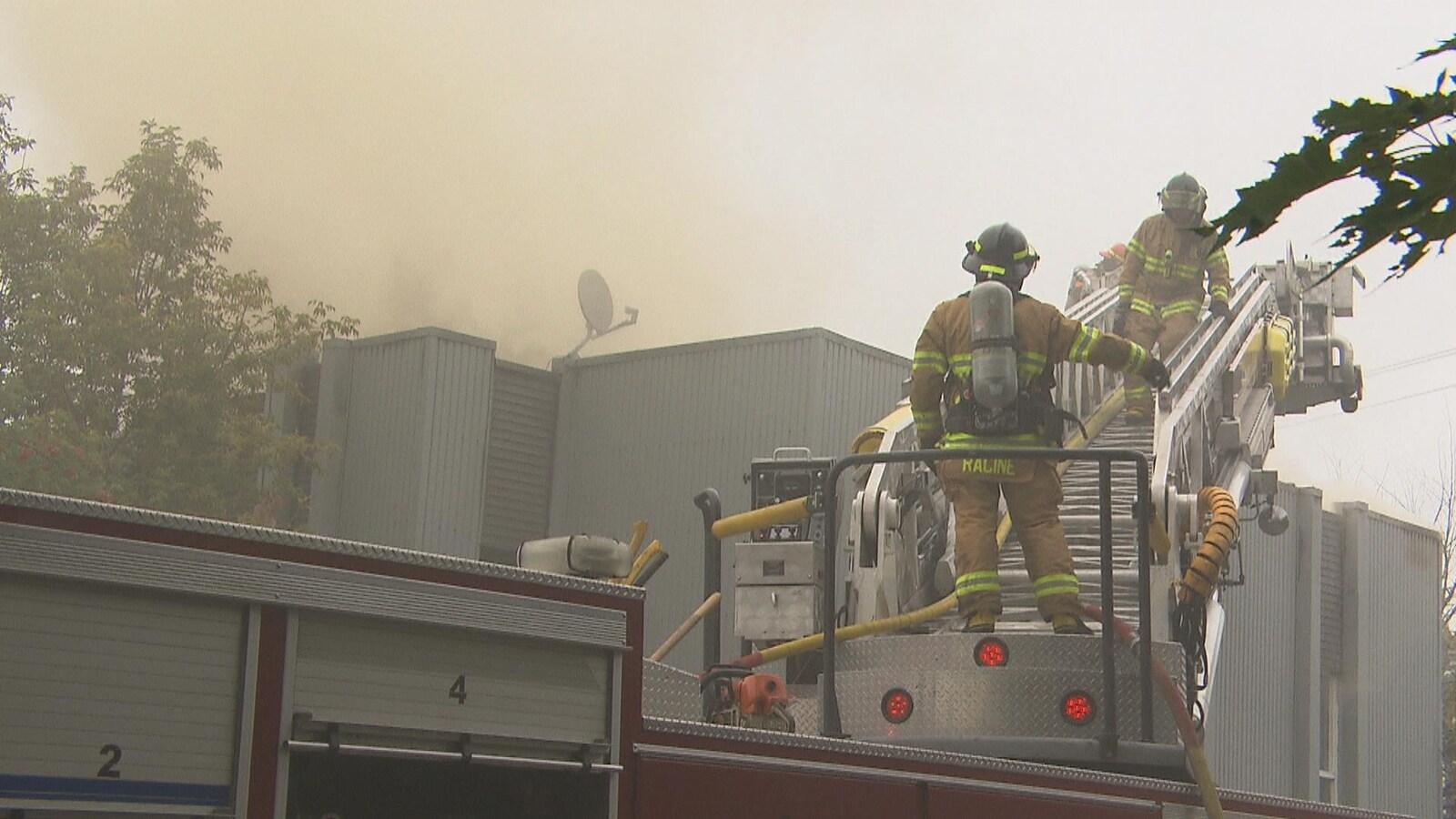 Des pompiers sur une échelle