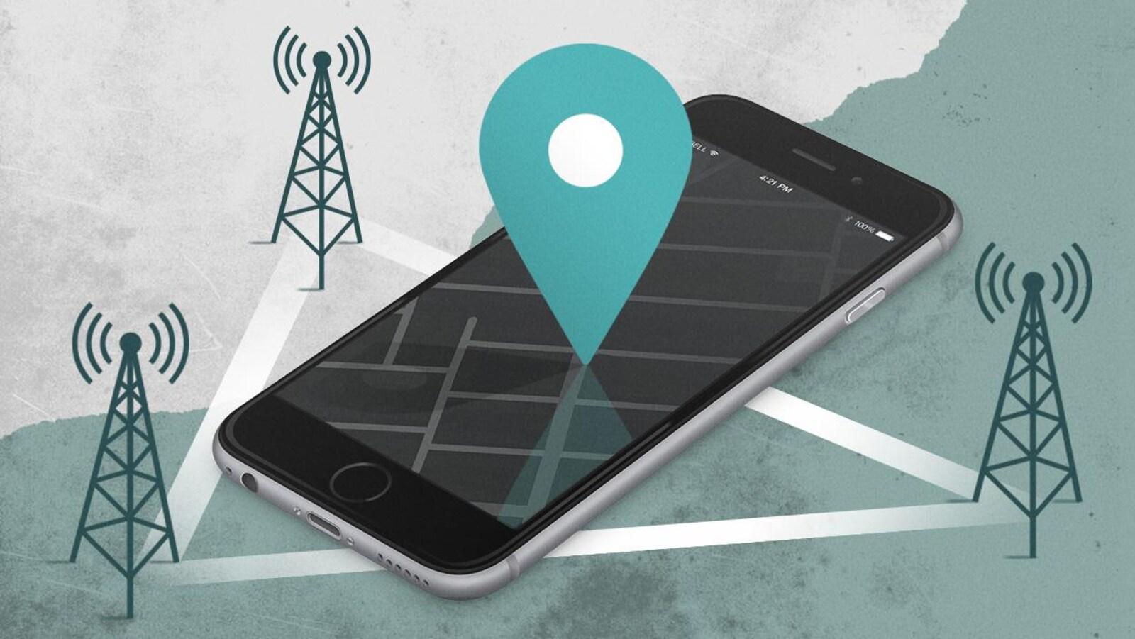 Un symbole de géolocalisation qui désigne un téléphone cellulaire.