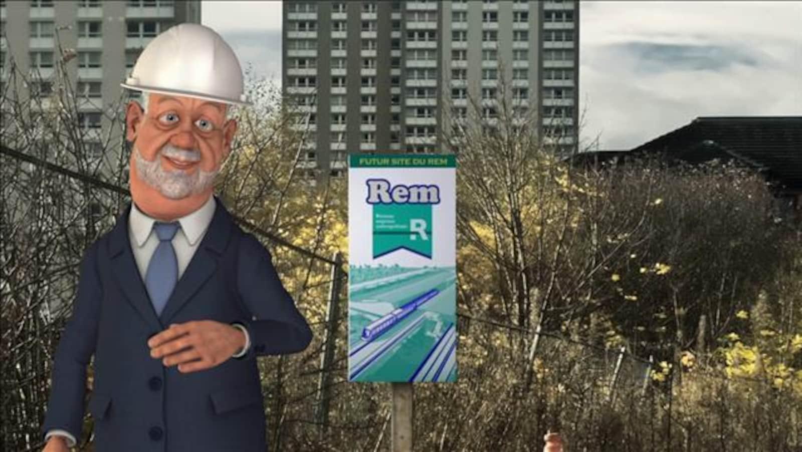 Le premier ministre du Québec en personnage Laflaque avec un chapeau de construction.