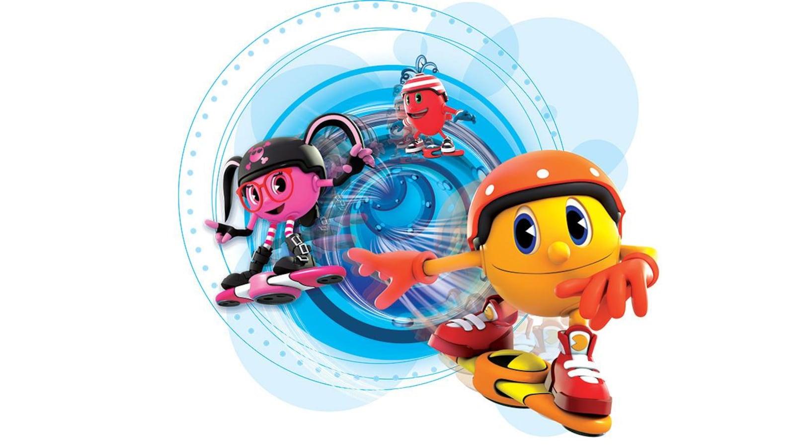 Pac-Man, Spirale et Cynlindria sur des skateboards volants.
