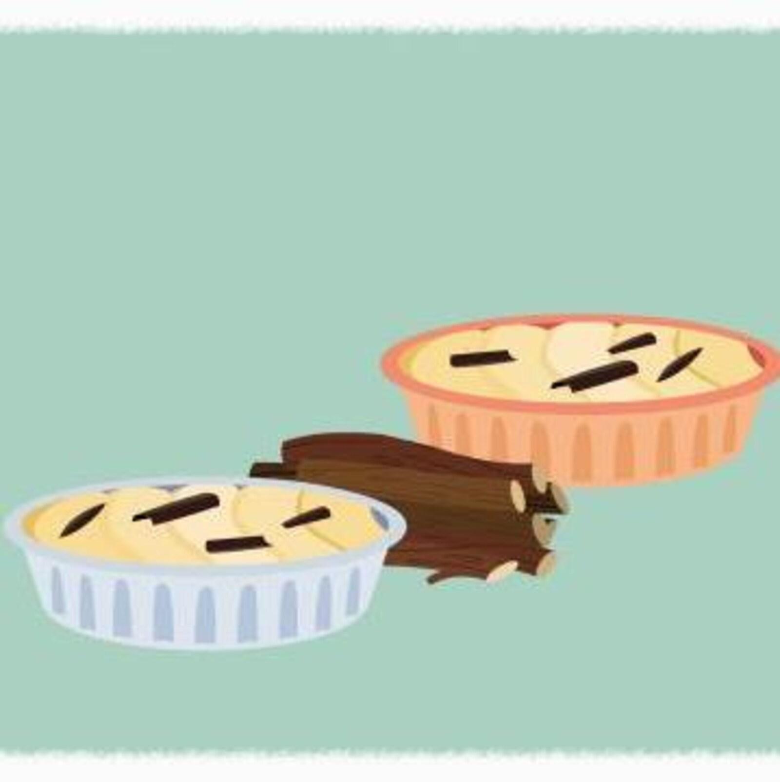 Sur une tarte aux pommes