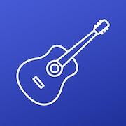 une icone de guitare sèche sur fond bleu