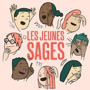 Illustration générique de 8 visages de jeunes en train de parler et de réfléchir. Le titre Les Jeunes Sages est écrit en rouge.