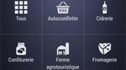 Capture d'écran du moteur de recherche de l'appli