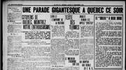 La parade dans les rues de Québec était annoncée dans les journaux du 11 novembre 1918