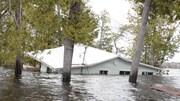 Habitation presque entièrement submergée par l'inondation à Princess Park, Nouveau-Brunswick, le 28 avril 2019.
