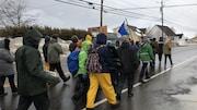 Des personnes, que l'on voit de dos, marchent dans une rue avec des affiches et des drapeaux.