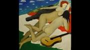 Toile représentant deux femmes nus avec une guitare par Henry Wanton Jones.