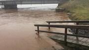 La surface de la rivière touche presque le tablier du pont