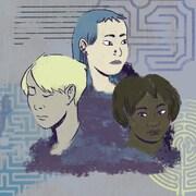 Un dessin représentant trois femmes de différentes générations et de différents milieux culturels.
