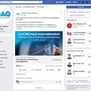 Cette publication sur la page Facebook de la Coalition avenir Québec invitait les internautes à se rendre sur le site web du parti afin d'y donner leur avis à l'occasion des consultations prébudgétaires ainsi que certaines informations personnelles.