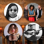 Image-titre avec des instruments de musique et les photos des quatre participants en mortaises dans l'image.