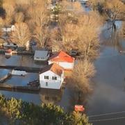 Une ville inondée.