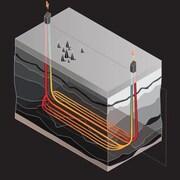 Un schéma montre deux puits qui s'enfoncent sous terre. Entre les deux puits, une série de tuyaux font circuler un liquide qui se réchauffe avant d'être repoussé vers la surface.