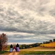 Trois personnes marchent de dos sur un chemin de campagne, dans un paysage aux couleurs d'automne.