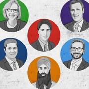 Illustration des 6 chefs des partis politiques fédéraux
