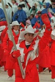 La délégation canadienne à l'ouverture des Jeux olympiques de Calgary de 1988