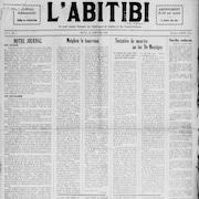 Une numérisation d'une première page de journal nommé L'Abitibi.