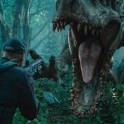 Un homme fait face à un dinosaure qui s'apprête à attaquer. Il a un fusil dans les mains.