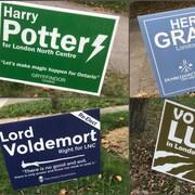 Des panneaux électoraux avec les noms de personnages de Harry Potter, Hermione Granger, Lord Voldemort, et Remus Lupin.