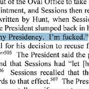 On peut lire dans un extrait du rapport cette phrase attribuée à Donald Trump par un témoin: «C'est la fin de ma présidence. Je suis foutu.»